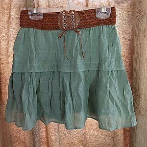 Girls Western Boho Hippie 2 Tier Prairie Skirt M